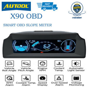 Autool X90 Smart Obd Speedometer Slope Meter Inclinometer Head Up Display
