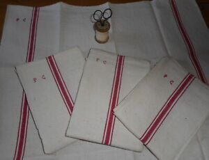 Antique Vtg French Rustic Towel Linen Metis Fabric Red Ticking Stripe Mono Pc