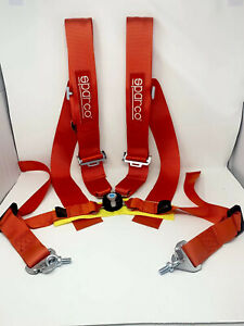 Sparco Racing Style 4 Point 3 Bolt Down Safety Seat Belt Harness Universal Red