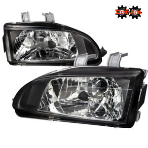 For 92 95 Honda Civic Eg Jdm Black Glass Headlights W sir City Light Si Ex Hb