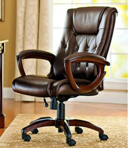 Executive Leather Swivel Rolling Adjustable Office Desk Computer Chair Brown