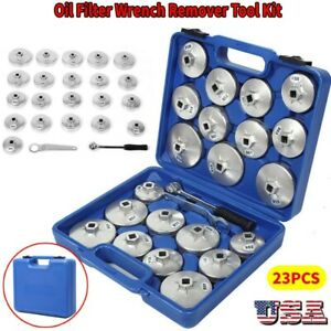 23pcs Cup Type Aluminium Oil Filter Wrench Removal Socket Remover Tool Set Us