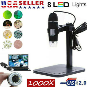 1000x Digital Microscope 8 Led Magnifier Camera Video Usb 2 0 Zoom Endoscope Us
