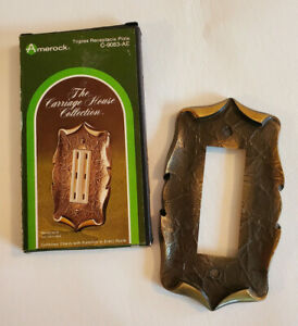 Vtg Antique English Triple Outlet Cover Plate Amerock Carriage House C 9083 Ae
