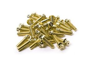 80x Gold Split Rim Assembly Bolts M7 X 24mm Bbs Rm Lm Oz Wheels Ht Screws