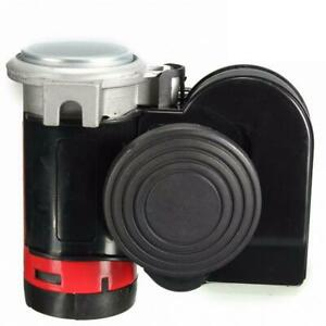 12v 139db Motorcycle Truck Car Twin Dual Tone Snail Compact Air Horn Loud Black