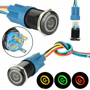 19mm 12v Led Power Symbol On off Car Push Button Switch Latch Metal Toggle Spdt