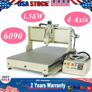Usb 1500w 4 Axis Cnc 6090 Router Engraver Machine Drilling Mill 220v 3d Cutter