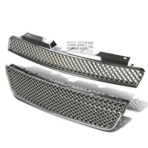 06 16 Chevy Impala Chrome Mesh Front Upper Lower Hood Bumper Abs Grill Guard Kit