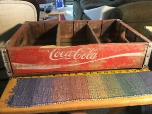 "Vintage Red Coca Cola wooden crate collectible 18 1/2"" x 12"""