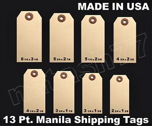 100 Manila 13 Pt Inventory Shipping Hang Label Price Tags Size 1 2 3 4 5 6 7 8