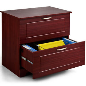 2 drawer Lateral File Cabinet Adjustable Pole Concise Style Letter Size Brown