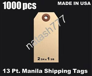 1000 2 3 4 X 1 3 8 Manila 13 Pt Inventory Shipping Hang Label Price Tags 1