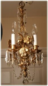 Antique Bronze 4 Arm French X Petite Chandelier With Prisms