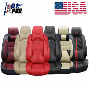 Car Seat Covers Full Set 5 sits Luxury Cushion Pu Leather Front rear Interior Us