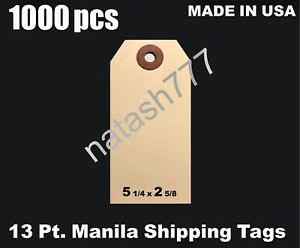 1000 5 1 4 X 2 5 8 Manila 13 Pt Inventory Shipping Hang Label Price Tags 6