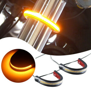 Super Bright Amber Led Fork Turn Signal Lights Strip For Motorcycle universal