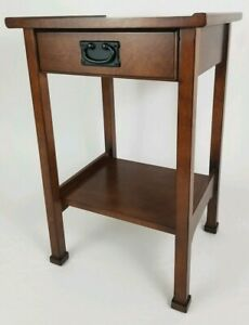 Vintage Asian Style Mahogany Nightstand Entry End Table With Drawer And Shelf