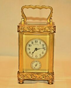 Antique French Miniature Gilded Porcelain Alarm Striking Officers Carriage Clock