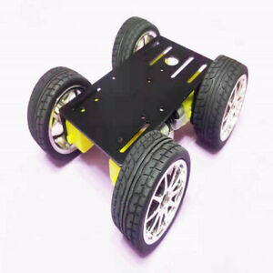 Alloy 4wd Chassis Kit Smart Robot Car Diy Model New Black With Code Disk