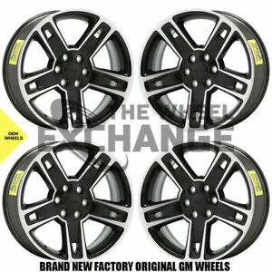 22 Chevrolet Gmc Silverado Sierra 1500 Black Wheels Rims Factory Oem Set 4 5664