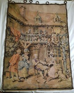 Vintage Tapestry France French Cottage Tavern Bird Cage Victorian Scene Antique