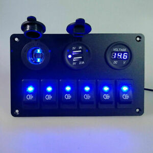 6 Gang Rocker Switch Panel Circuit Waterproof Blue Led Car Marine Boat 12v 24v