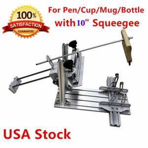 Usa Cylinder Screen Printing Machine 10 Squeegee For Pen Cup Mug Bottle