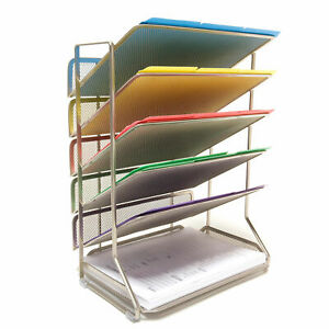 New Opened Seville Classics 6 tray Office Vertical Desktop wall Mount Organizer