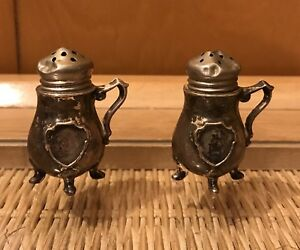 Small Salt Pepper Shakers Tiny Mini Feet Handles Sterling Silver Antique 2