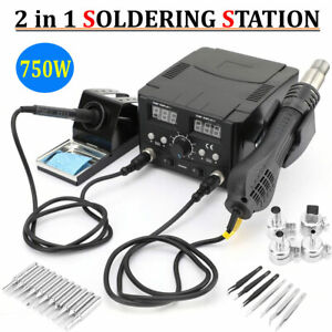 Soldering Desoldering Digital Rework Station Hot Air Iron Gun 2in1 Smd Welder