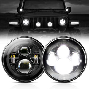 Pair 7 Inch Round Led Headlight Hi Lo Beam Projector For Jeep Wrangler Jk Tj