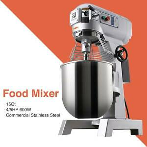 600w 15qt Commercial Dough Food Mixer Gear Driven Stainless Steel Pizza Bakery