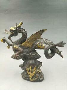Chinese Old Hand Craft Engraving Bronze Gild Fly Dragon Statue