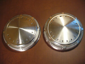 Plymouth Division Hubcaps Dog Dish 1960 1970 Oem Stainless 9 Inch Pair Very Good