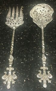 Vintage Silver Plated Baroque French Salad Spoon And Fork Serving Set