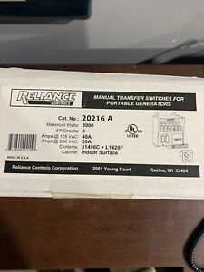 Reliance Controls Corporation 20216a Pro tran 6 circuit Indoor Transfer Switch