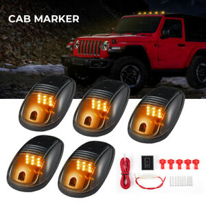 5xsmoke Cab Roof Marker Amber 12 Led Top Lights 264146bk For Dodge Ram 2003 2018