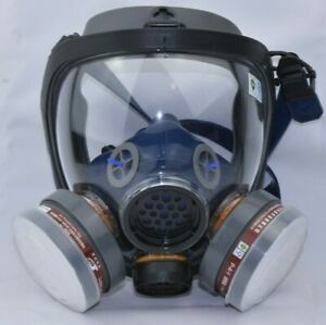 Strong Gas Mask M70 Dust Half Face Piece Reusable Respirator Dual Filter Blk blu