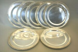 Set Of Seven Sterling Silver 833 Portugal Dinner Plates 10 1 2 Chargers 145oz