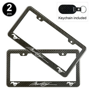 2pcs Set Ford Mustang License Plate Frame Carbon Fiber Look Style Plastic