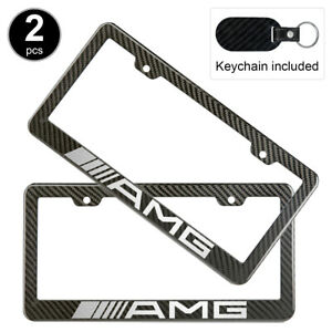 2pcs Set Mercedes Benz Amg License Plate Frame Carbon Fiber Look Style Plastic