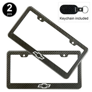2pcs Set Chevy Logo License Plate Frame Carbon Fiber Look Style Plastic