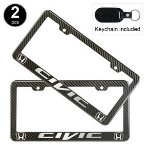 2pcs Set Honda Civic License Plate Frame Carbon Fiber Look Style Plastic