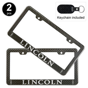 2pcs Set Lincoln License Plate Frame Carbon Fiber Look Style Glossy Plastic