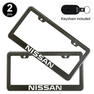 2pcs Set Nissan License Plate Frame Carbon Fiber Look Style Plastic