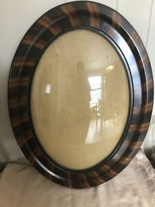 Antique Large Convex Tiger Stripe Frame Oval