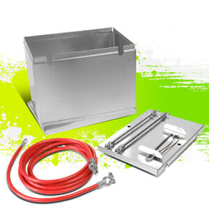 Universal Aluminum Battery Relocation Box W cable tie Down Kit 13 5 x9 5 x10