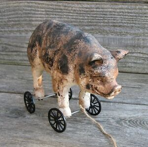 Pig Hog Piggy Pull Toy Sculpture Primitive Home French Country Farmhouse Decor