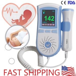 Fetal Doppler 3mhz Lcd Color Backlight Baby Heart Beat Rate Monitor Meter Fda ce